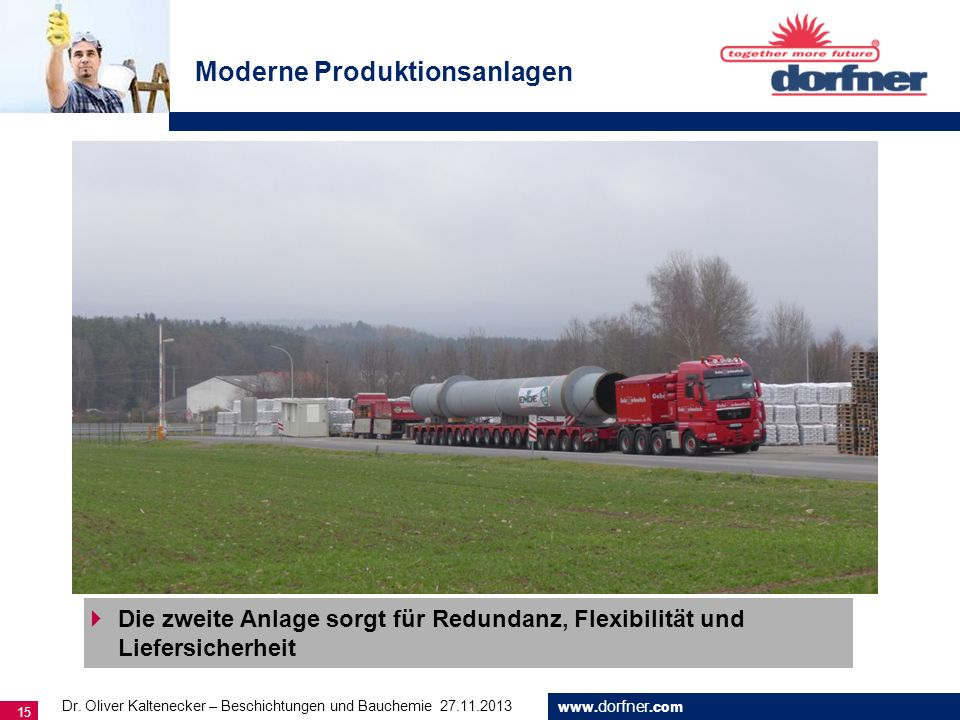 www. dorfner.com 15 Moderne Produktionsanlagen Die zweite Anlage sorgt für Redundanz, Flexibilität und Liefersicherheit Dr. Oliver Kaltenecker – Besch