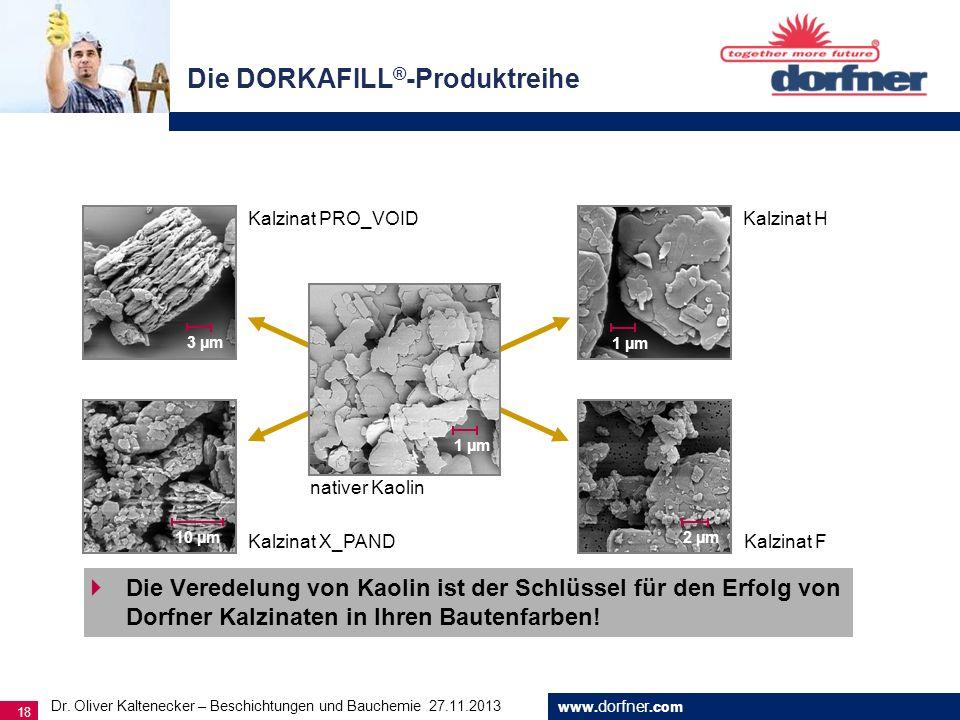 www. dorfner.com 18 Die Veredelung von Kaolin ist der Schlüssel für den Erfolg von Dorfner Kalzinaten in Ihren Bautenfarben! Die DORKAFILL ® -Produktr