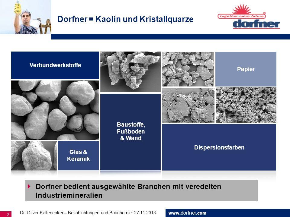 www. dorfner.com 2 Dorfner = Kaolin und Kristallquarze Papier Glas & Keramik Verbundwerkstoffe Dispersionsfarben Baustoffe, Fußboden & Wand Dorfner be