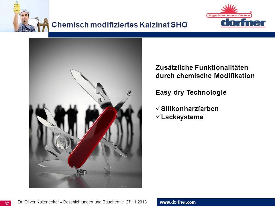 www. dorfner.com 37 Chemisch modifiziertes Kalzinat SHO Dr. Oliver Kaltenecker – Beschichtungen und Bauchemie 27.11.2013 Zusätzliche Funktionalitäten