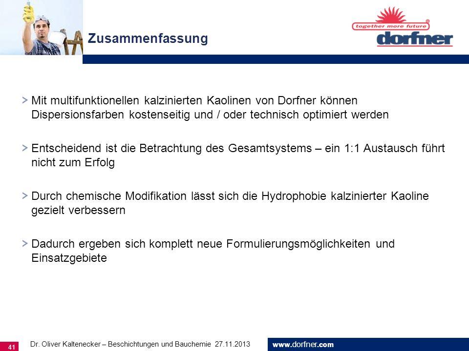 www. dorfner.com 41 Zusammenfassung Dr. Oliver Kaltenecker – Beschichtungen und Bauchemie 27.11.2013 Mit multifunktionellen kalzinierten Kaolinen von