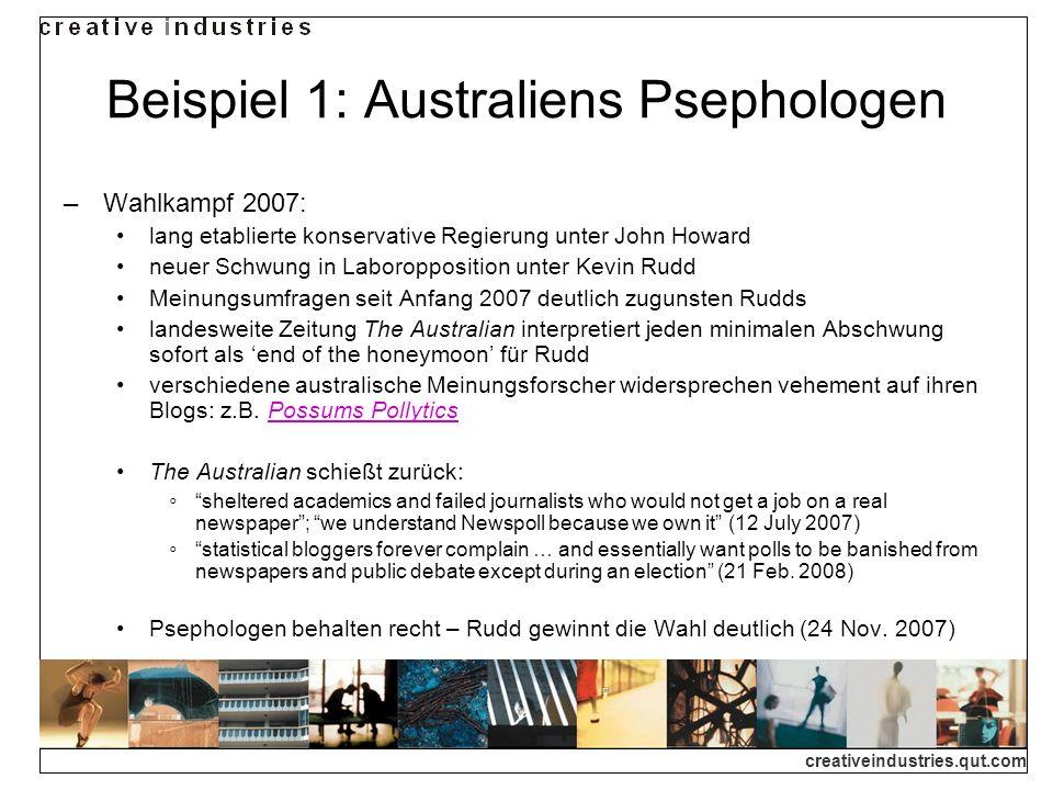 creativeindustries.qut.com Beispiel 1: Australiens Psephologen Wahlkampf 2007: lang etablierte konservative Regierung unter John Howard neuer Schwung