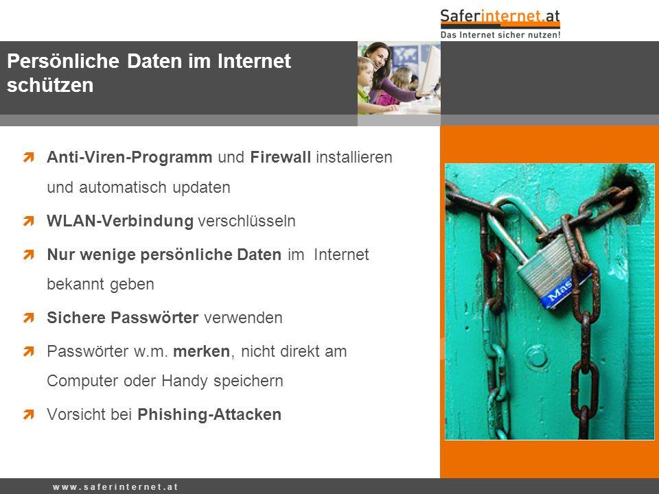Anti-Viren-Programm und Firewall installieren und automatisch updaten WLAN-Verbindung verschlüsseln Nur wenige persönliche Daten im Internet bekannt geben Sichere Passwörter verwenden Passwörter w.m.