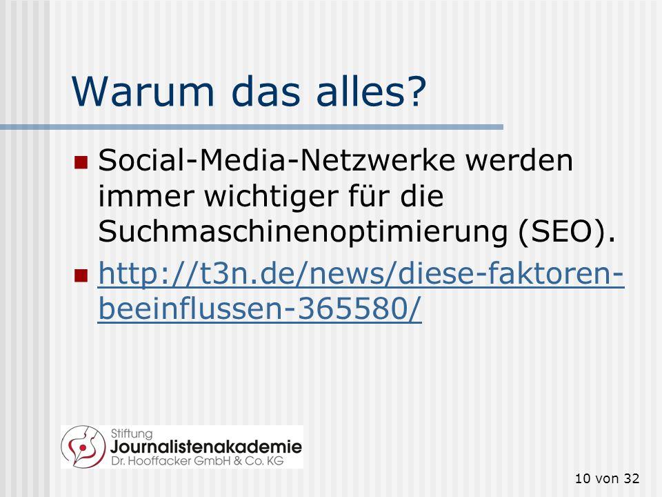 9 von 32 Wer nutzt welche Social- Media-Angebote? Facebook: bunte Mischung, hoher Anteil der Gesamtbevölkerung Twitter: eher medienaffine Onliner (Jou