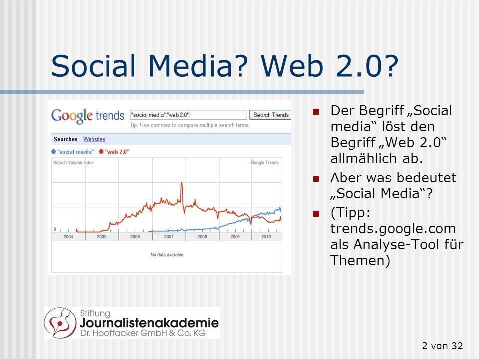2 von 32 Social Media.Web 2.0. Der Begriff Social media löst den Begriff Web 2.0 allmählich ab.