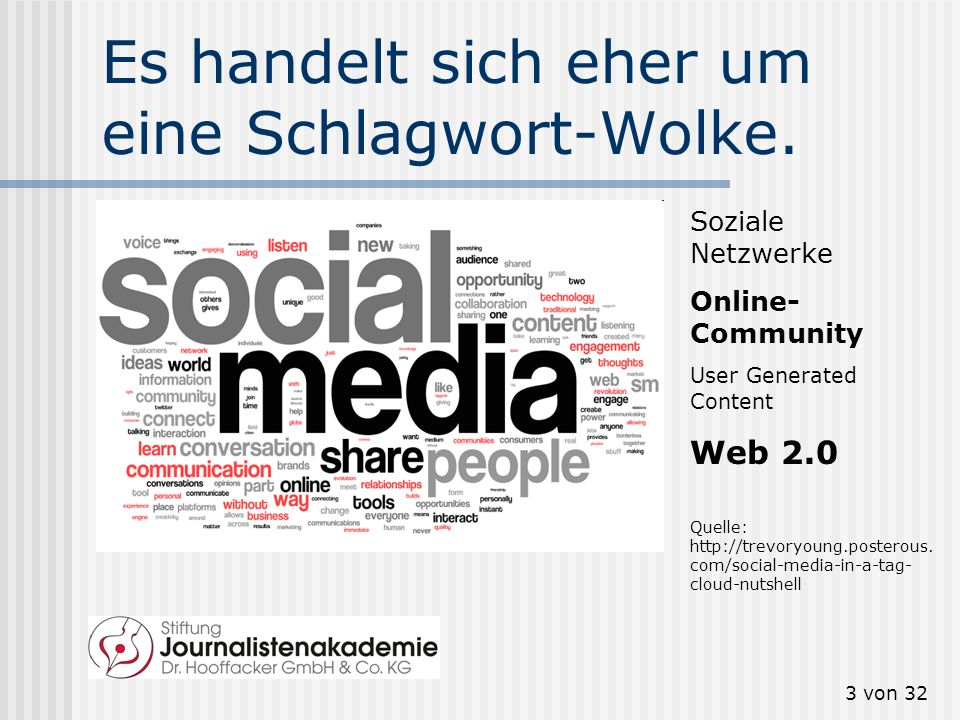 2 von 32 Social Media? Web 2.0? Der Begriff Social media löst den Begriff Web 2.0 allmählich ab. Aber was bedeutet Social Media? (Tipp: trends.google.