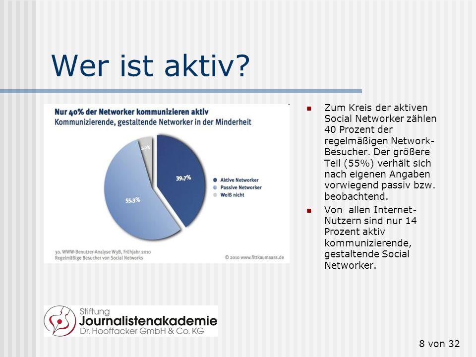 7 von 32 Wer nutzt sie. Wachstum stagniert 62 Prozent der Internet-Nutzer besuchen Social Networks.