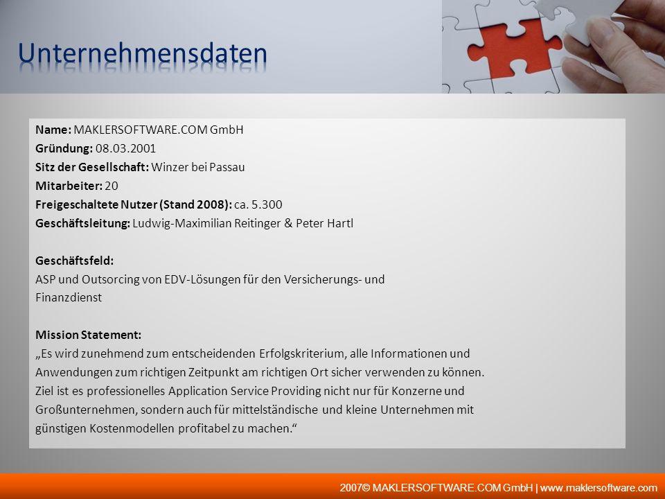 2007© MAKLERSOFTWARE.COM GmbH | www.maklersoftware.com Name: MAKLERSOFTWARE.COM GmbH Gründung: 08.03.2001 Sitz der Gesellschaft: Winzer bei Passau Mit