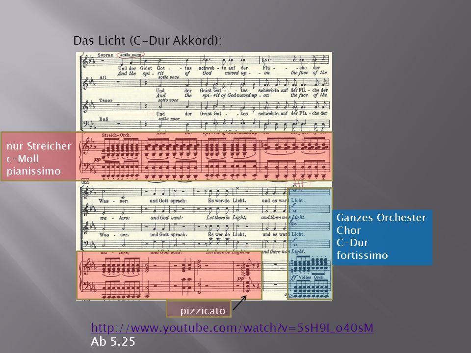 Das Licht (C-Dur Akkord): http://www.youtube.com/watch v=5sH9I_o40sM Ab 5.25 nur Streicher c-Moll pianissimo pizzicato Ganzes Orchester Chor C-Dur fortissimo