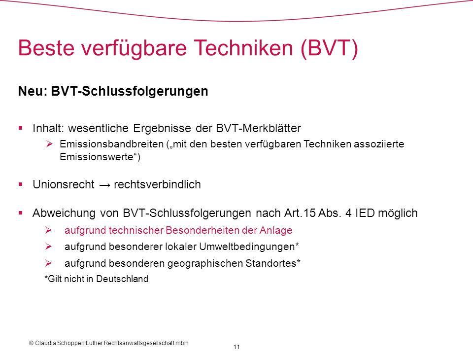 Neu: BVT-Schlussfolgerungen Inhalt: wesentliche Ergebnisse der BVT-Merkblätter Emissionsbandbreiten (mit den besten verfügbaren Techniken assoziierte