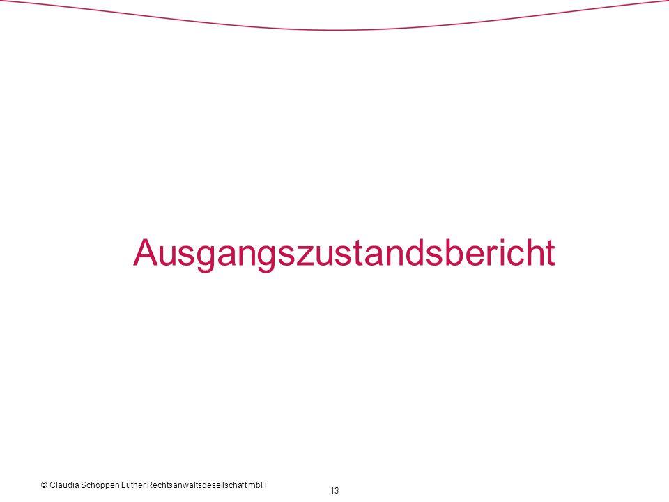 Ausgangszustandsbericht 13 © Claudia Schoppen Luther Rechtsanwaltsgesellschaft mbH