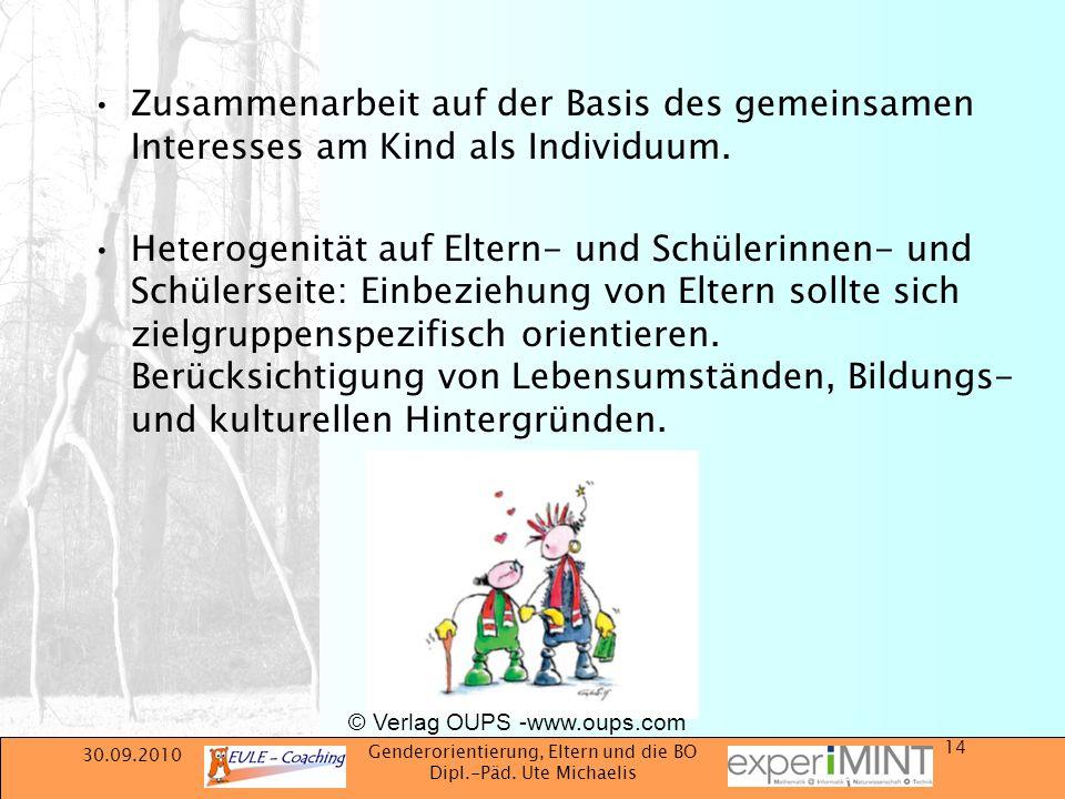 30.09.2010 Genderorientierung, Eltern und die BO Dipl.-Päd. Ute Michaelis 14 Zusammenarbeit auf der Basis des gemeinsamen Interesses am Kind als Indiv