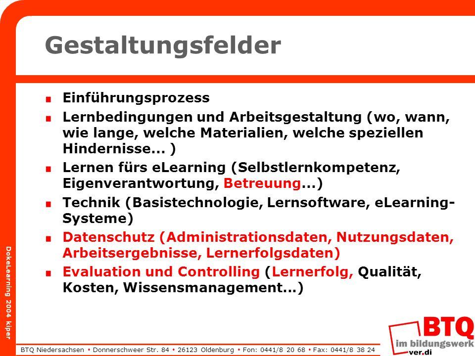 BTQ Niedersachsen Donnerschweer Str. 84 26123 Oldenburg Fon: 0441/8 20 68 Fax: 0441/8 38 24 DokeLearning 2004 kiper Gestaltungsfelder Einführungsproze