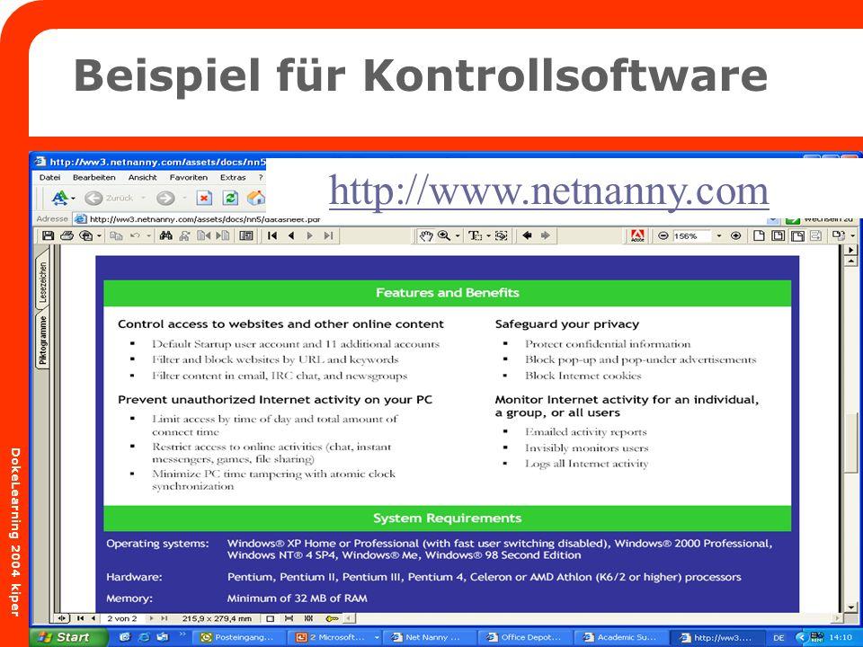 BTQ Niedersachsen Donnerschweer Str. 84 26123 Oldenburg Fon: 0441/8 20 68 Fax: 0441/8 38 24 DokeLearning 2004 kiper http://www.netnanny.com Beispiel f