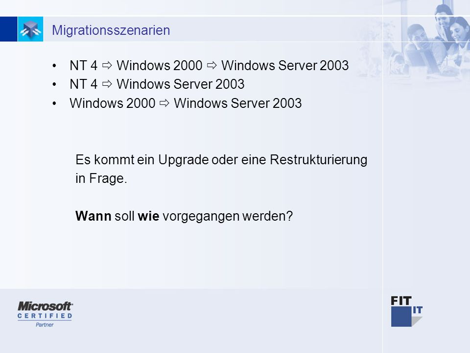 14 Migrationsszenarien NT 4 Windows 2000 Windows Server 2003 NT 4 Windows Server 2003 Windows 2000 Windows Server 2003 Es kommt ein Upgrade oder eine
