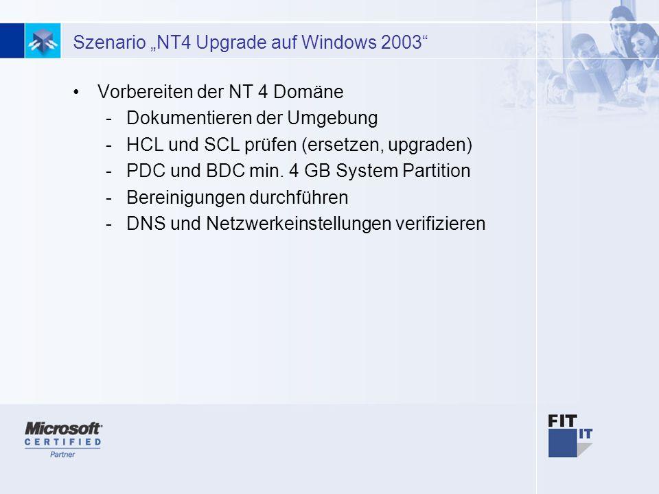 21 Szenario NT4 Upgrade auf Windows 2003 Vorbereiten der NT 4 Domäne -Dokumentieren der Umgebung -HCL und SCL prüfen (ersetzen, upgraden) -PDC und BDC min.