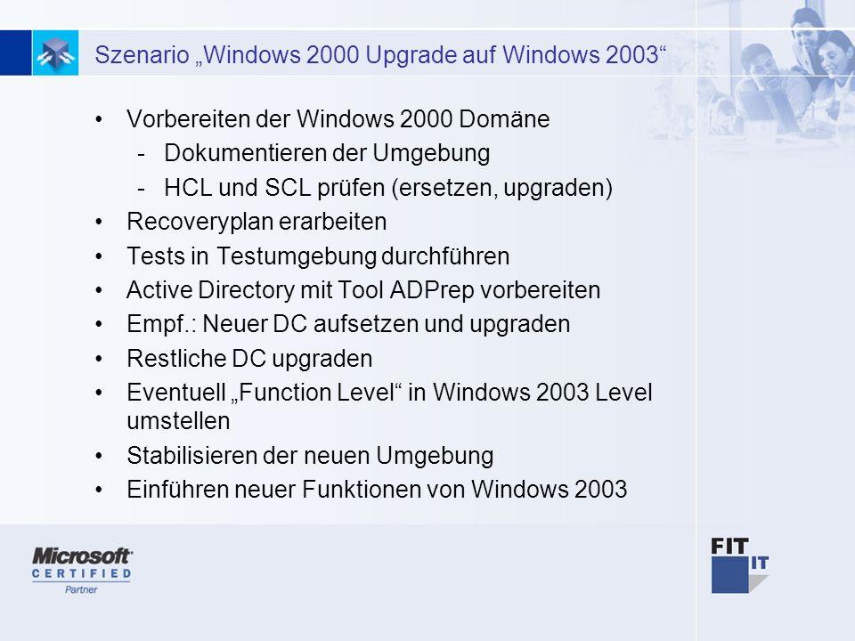 23 Szenario Windows 2000 Upgrade auf Windows 2003 Vorbereiten der Windows 2000 Domäne -Dokumentieren der Umgebung -HCL und SCL prüfen (ersetzen, upgraden) Recoveryplan erarbeiten Tests in Testumgebung durchführen Active Directory mit Tool ADPrep vorbereiten Empf.: Neuer DC aufsetzen und upgraden Restliche DC upgraden Eventuell Function Level in Windows 2003 Level umstellen Stabilisieren der neuen Umgebung Einführen neuer Funktionen von Windows 2003