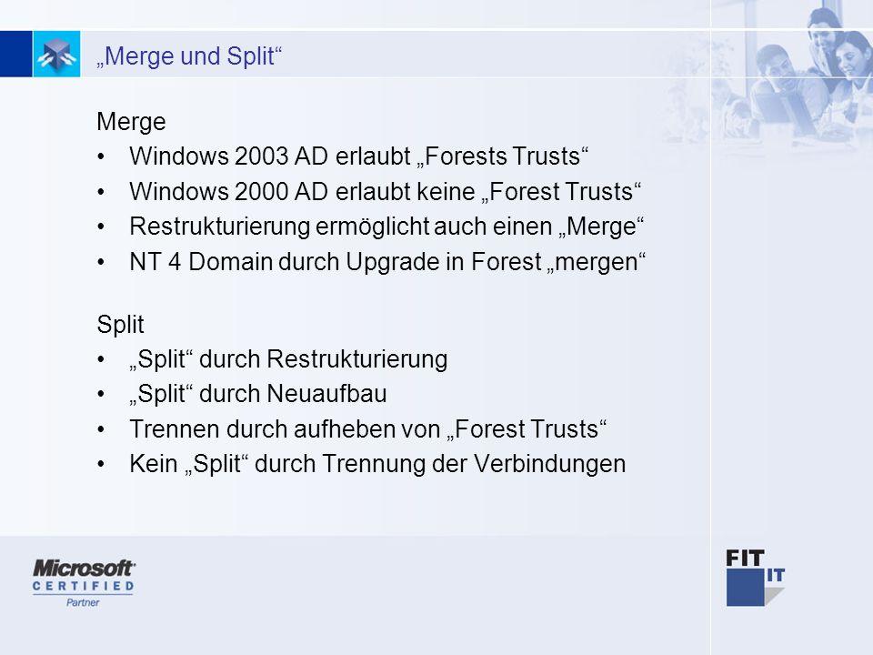 26 Merge und Split Merge Windows 2003 AD erlaubt Forests Trusts Windows 2000 AD erlaubt keine Forest Trusts Restrukturierung ermöglicht auch einen Merge NT 4 Domain durch Upgrade in Forest mergen Split Split durch Restrukturierung Split durch Neuaufbau Trennen durch aufheben von Forest Trusts Kein Split durch Trennung der Verbindungen
