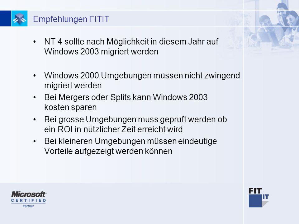 27 Empfehlungen FITIT NT 4 sollte nach Möglichkeit in diesem Jahr auf Windows 2003 migriert werden Windows 2000 Umgebungen müssen nicht zwingend migriert werden Bei Mergers oder Splits kann Windows 2003 kosten sparen Bei grosse Umgebungen muss geprüft werden ob ein ROI in nützlicher Zeit erreicht wird Bei kleineren Umgebungen müssen eindeutige Vorteile aufgezeigt werden können