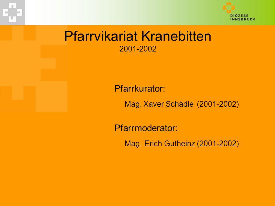 Pfarrvikariat Kranebitten 2001-2002 Pfarrkurator: Mag. Xaver Schädle(2001-2002) Pfarrmoderator: Mag. Erich Gutheinz (2001-2002)