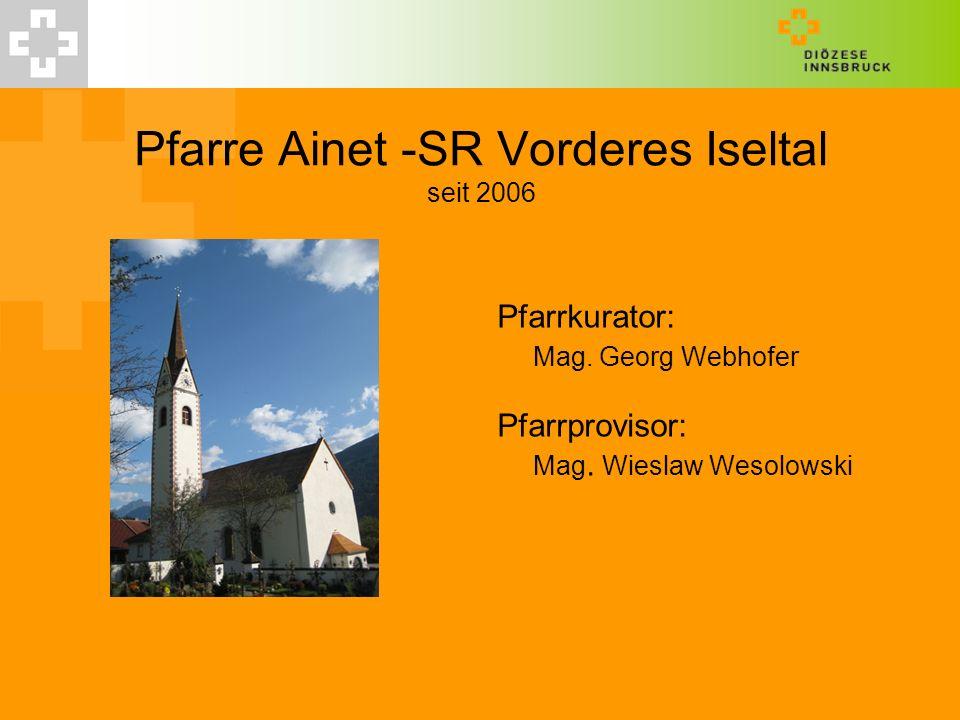 Pfarre Ainet -SR Vorderes Iseltal seit 2006 Pfarrkurator: Mag. Georg Webhofer Pfarrprovisor: Mag. Wieslaw Wesolowski