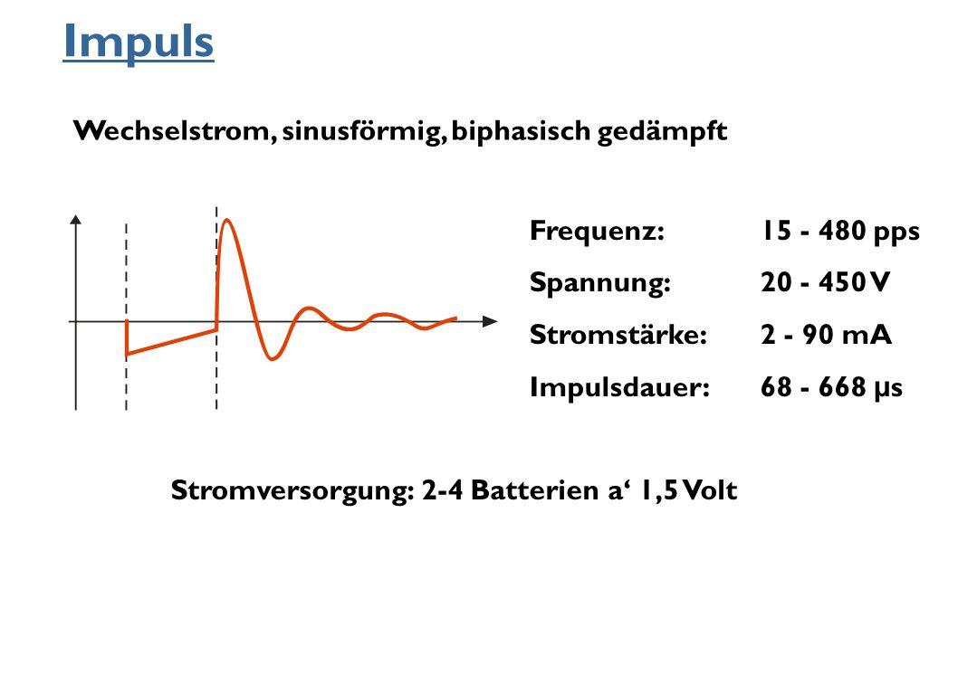 Impuls Frequenz:15 - 480 pps Spannung:20 - 450 V Stromstärke:2 - 90 mA Impulsdauer:68 - 668 μ s Wechselstrom, sinusförmig, biphasisch gedämpft Stromve