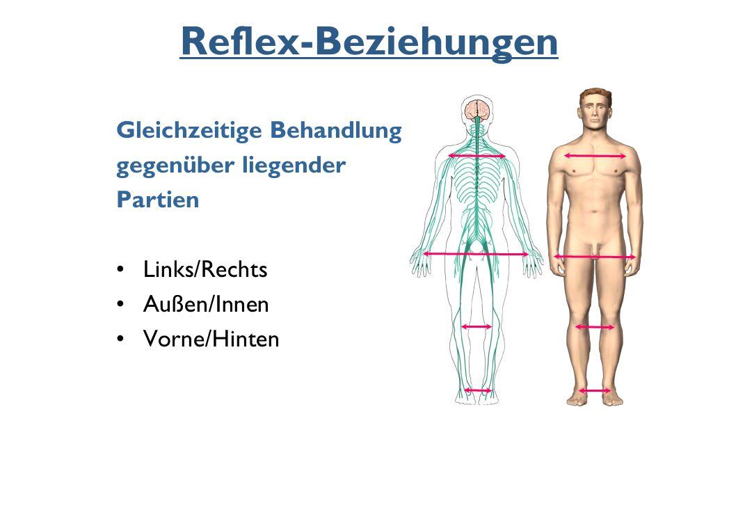 Reflex-Beziehungen Gleichzeitige Behandlung gegenüber liegender Partien Links/Rechts Außen/Innen Vorne/Hinten