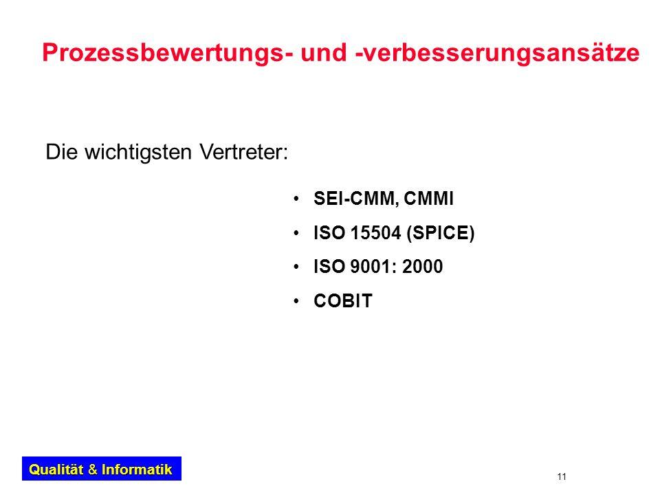 11 Qualität & Informatik Prozessbewertungs- und -verbesserungsansätze SEI-CMM, CMMI ISO 15504 (SPICE) ISO 9001: 2000 COBIT Die wichtigsten Vertreter: