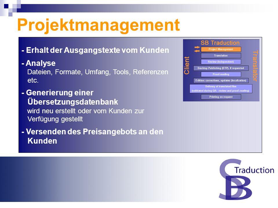 Überblick SB Traduction Projektmanagement Übersetzung Prüfung (Unabhängig) Desktop Publishing (DTP), falls gewünscht Korrekturlesen Aufbereitung: Korr