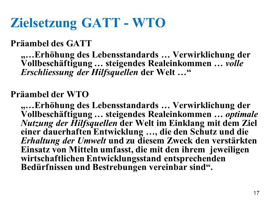 17 Zielsetzung GATT - WTO Präambel des GATT …Erhöhung des Lebensstandards … Verwirklichung der Vollbeschäftigung … steigendes Realeinkommen … volle Er