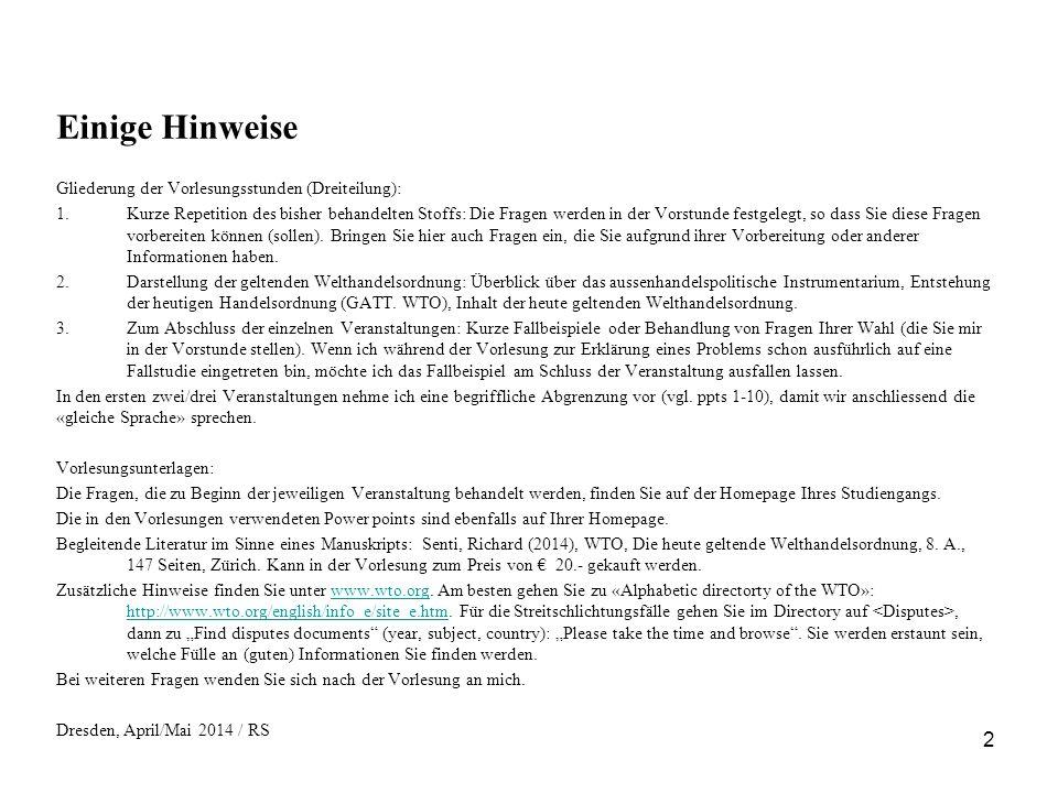 33 Präferenzen USA (Überblick) Niedriges Einkommen Relativ offene Grenzen für IL (Gegenrecht); keine spezifischen Handelshemmnisse gegenüber IL Respektierung von geistigem Eigentumsrecht (keine Piraterie der geistigen Eigentumsrechte, TRIPS) Anerkennung der Menschenrechte und der ILO-Core Conventions (vor allem Arbeiterrechte, Verbot von Kinderarbeit) Politisch genehm (USA: Ausschluss von Kuba, Iran, Burma) Beispiele aus US-GSP-Programm («Compeditive need limits», heutige Regelung) Beispiele aus US-Anden-Programm («Andean Trade Preference Extension Act 2011») Beispiele aus «African Growth and Opportunity Act» 2004 und 2007 (2007, Sonderprogramm für Textilien)