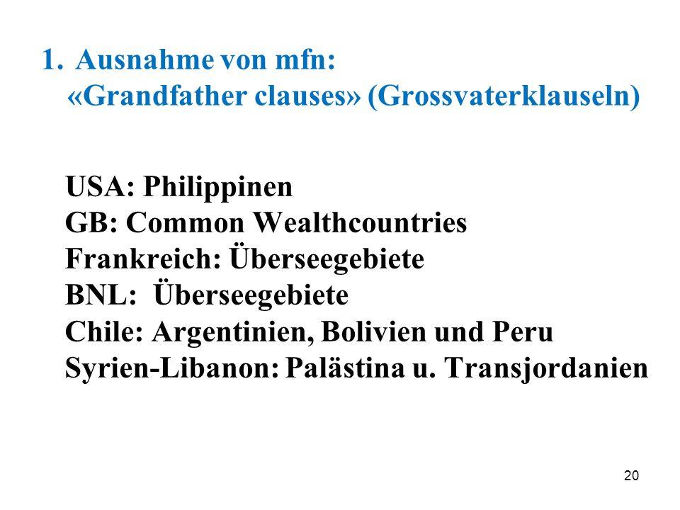 20 1. Ausnahme von mfn: «Grandfather clauses» (Grossvaterklauseln) USA: Philippinen GB: Common Wealthcountries Frankreich: Überseegebiete BNL: Übersee