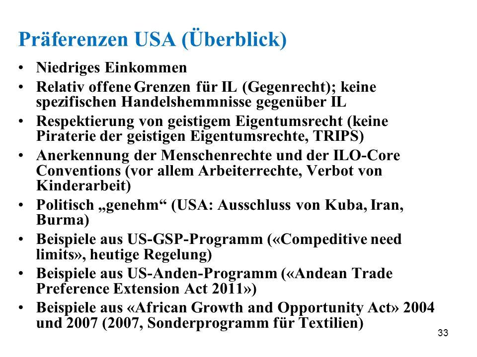 33 Präferenzen USA (Überblick) Niedriges Einkommen Relativ offene Grenzen für IL (Gegenrecht); keine spezifischen Handelshemmnisse gegenüber IL Respek