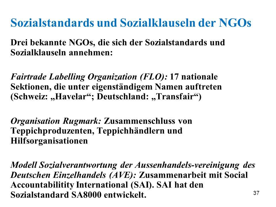 37 Sozialstandards und Sozialklauseln der NGOs Drei bekannte NGOs, die sich der Sozialstandards und Sozialklauseln annehmen: Fairtrade Labelling Organ