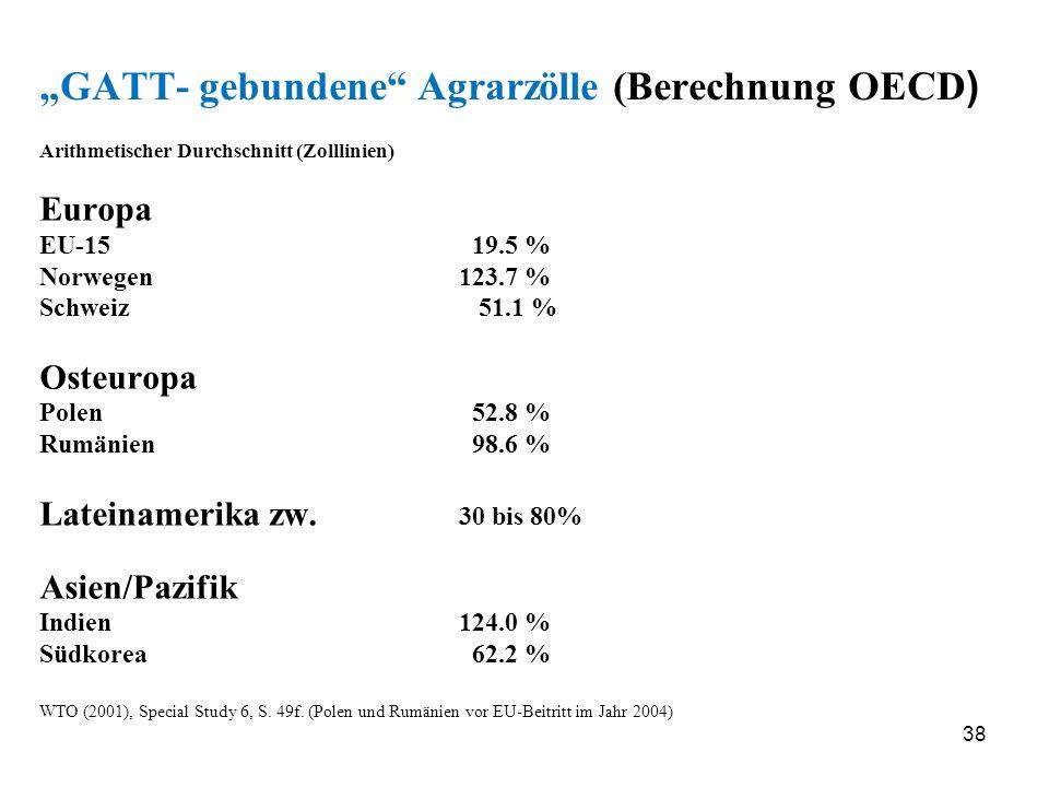 38 GATT- gebundene Agrarzölle (Berechnung OECD ) Arithmetischer Durchschnitt (Zolllinien) Europa EU-15 19.5 % Norwegen123.7 % Schweiz 51.1 % Osteuropa