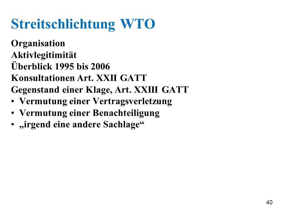 40 Streitschlichtung WTO Organisation Aktivlegitimität Überblick 1995 bis 2006 Konsultationen Art. XXII GATT Gegenstand einer Klage, Art. XXIII GATT V