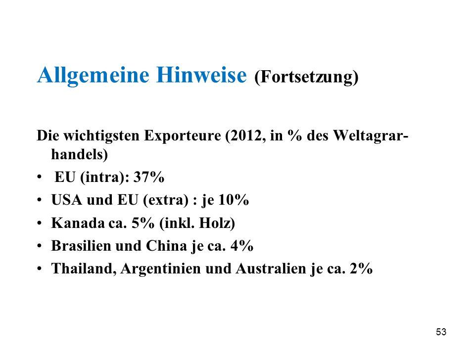 53 Allgemeine Hinweise (Fortsetzung) Die wichtigsten Exporteure (2012, in % des Weltagrar- handels) EU (intra): 37% USA und EU (extra) : je 10% Kanada