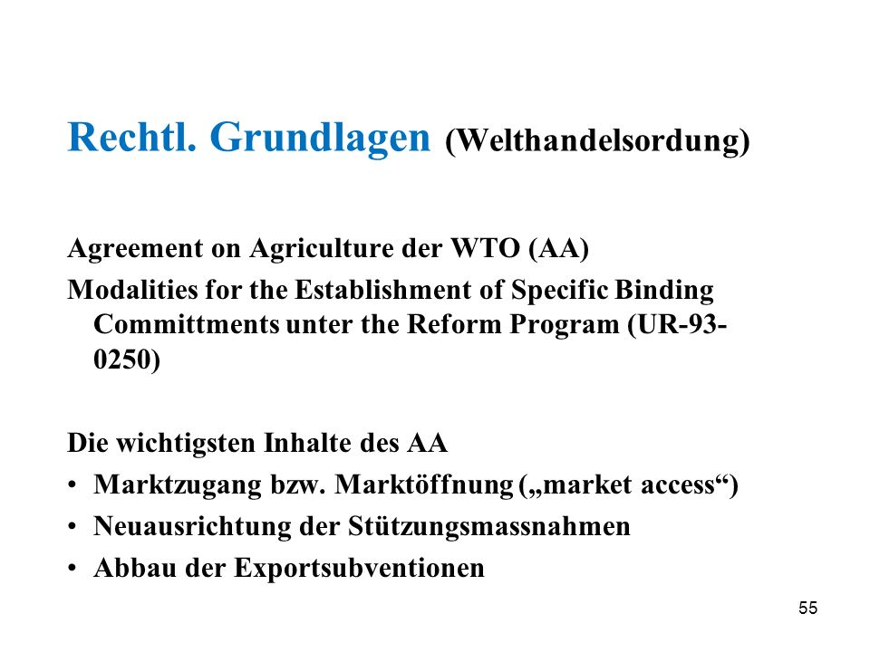 55 Rechtl. Grundlagen (Welthandelsordung) Agreement on Agriculture der WTO (AA) Modalities for the Establishment of Specific Binding Committments unte