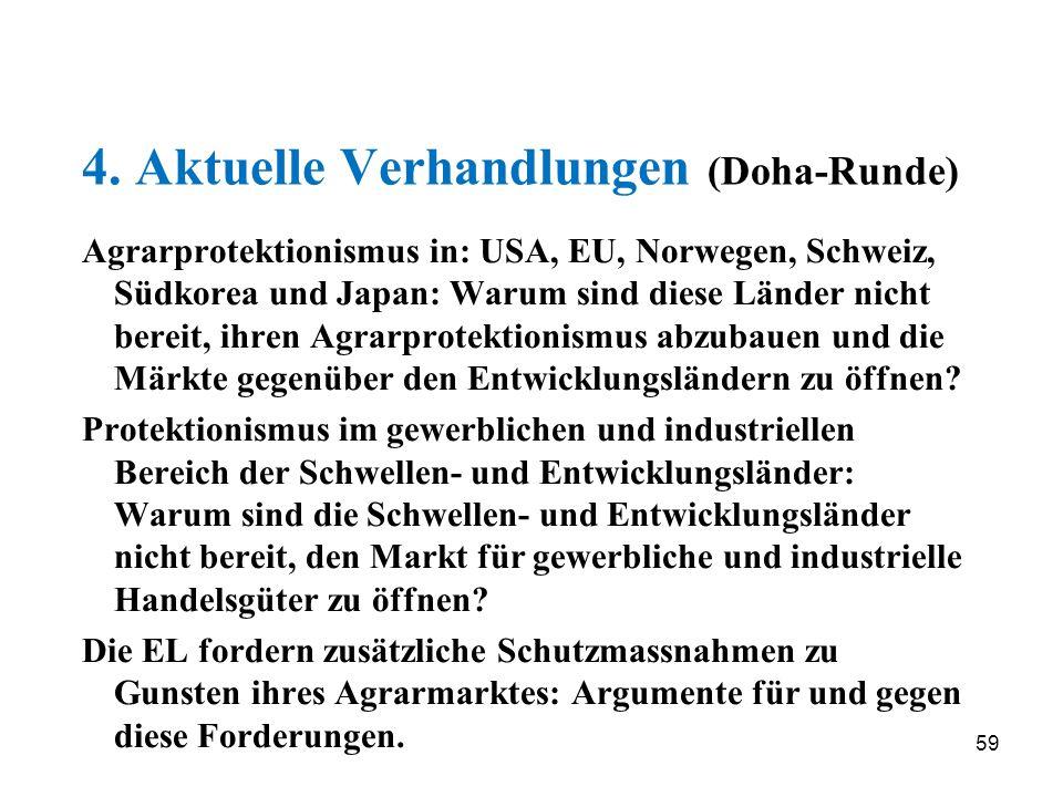59 4. Aktuelle Verhandlungen (Doha-Runde) Agrarprotektionismus in: USA, EU, Norwegen, Schweiz, Südkorea und Japan: Warum sind diese Länder nicht berei
