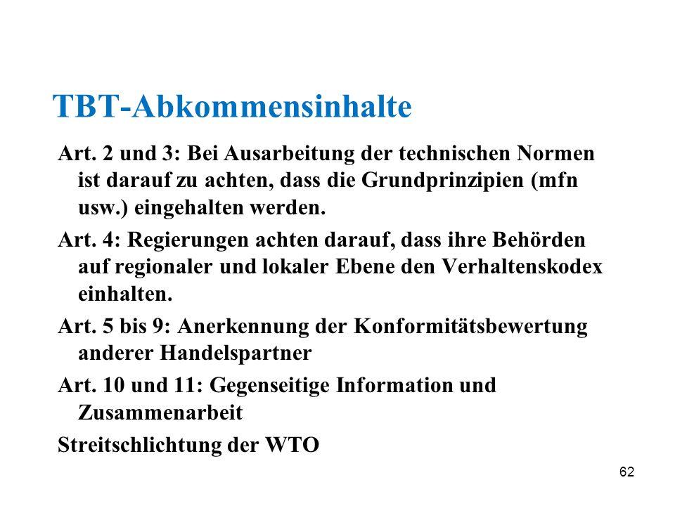62 TBT-Abkommensinhalte Art. 2 und 3: Bei Ausarbeitung der technischen Normen ist darauf zu achten, dass die Grundprinzipien (mfn usw.) eingehalten we