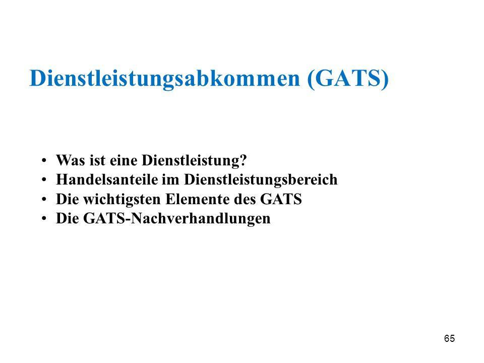 65 Dienstleistungsabkommen (GATS) Was ist eine Dienstleistung? Handelsanteile im Dienstleistungsbereich Die wichtigsten Elemente des GATS Die GATS-Nac