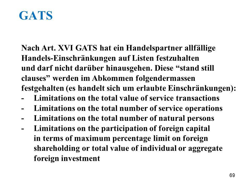 69 GATS Nach Art. XVI GATS hat ein Handelspartner allfällige Handels-Einschränkungen auf Listen festzuhalten und darf nicht darüber hinausgehen. Diese
