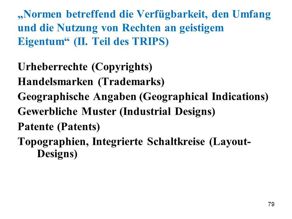 79 Normen betreffend die Verfügbarkeit, den Umfang und die Nutzung von Rechten an geistigem Eigentum (II. Teil des TRIPS) Urheberrechte (Copyrights) H