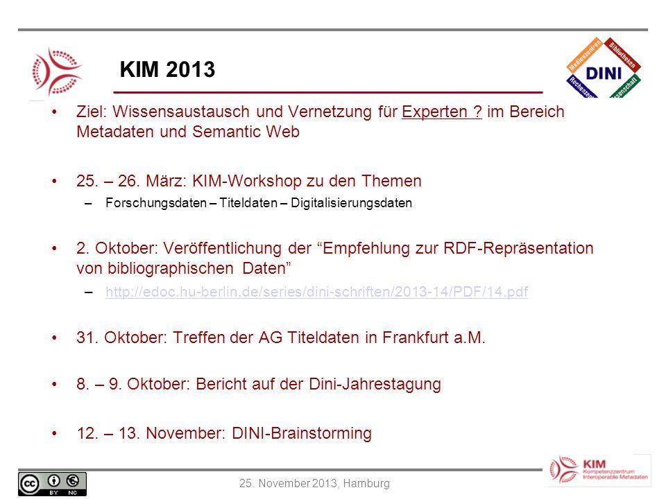 25. November 2013, Hamburg KIM 2013 Ziel: Wissensaustausch und Vernetzung für Experten ? im Bereich Metadaten und Semantic Web 25. – 26. März: KIM-Wor