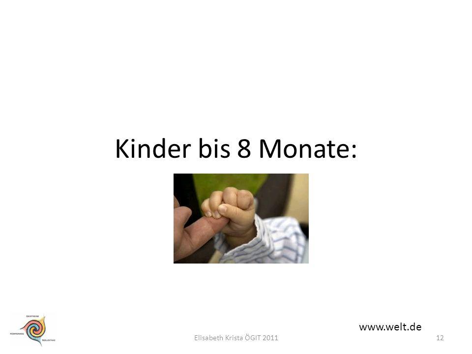 Kinder bis 8 Monate: www.welt.de 12Elisabeth Krista ÖGIT 2011