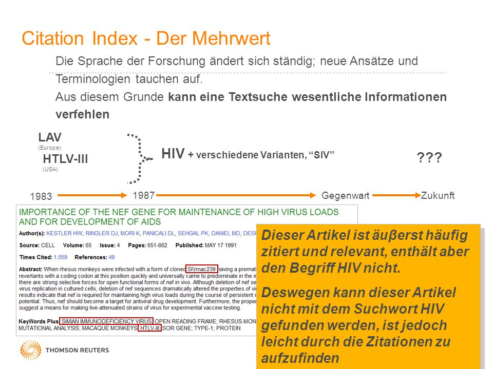 2 Citation Index - Der Mehrwert Die Sprache der Forschung ändert sich ständig; neue Ansätze und Terminologien tauchen auf. Aus diesem Grunde kann eine