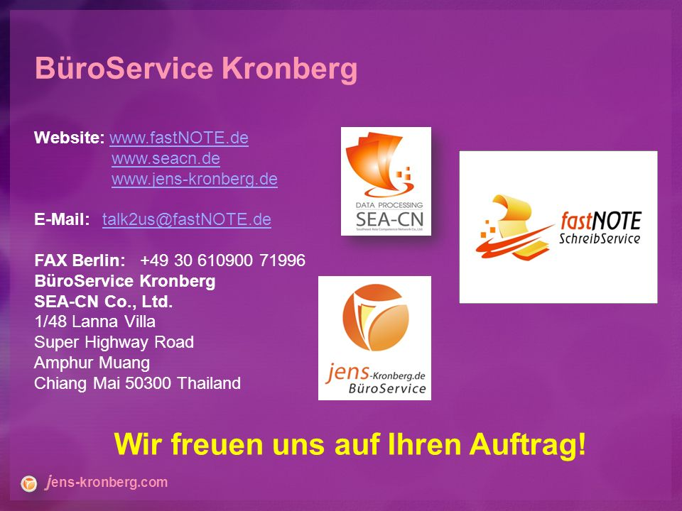 Website: FAX Berlin: BüroService Kronberg SEA-CN Co., Ltd.
