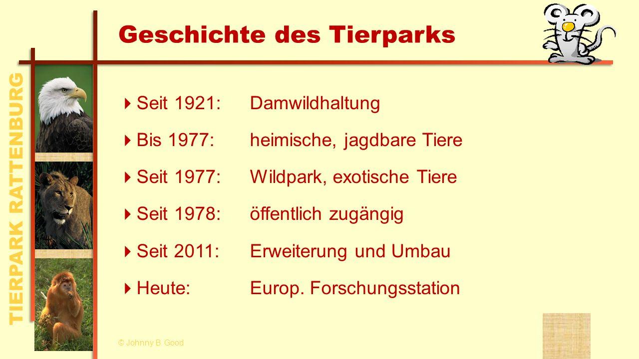 TIERPARK RATTENBURG Überblick © Johnny B. Good Geschichte des Tierparks Anfahrt und Lage Unsere Tiere Forschung und Wissenschaft Zahlen und Fakten Ter