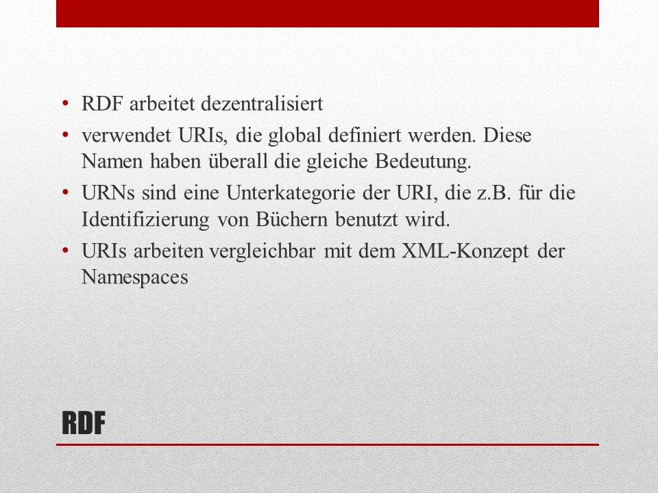RDF RDF arbeitet dezentralisiert verwendet URIs, die global definiert werden.