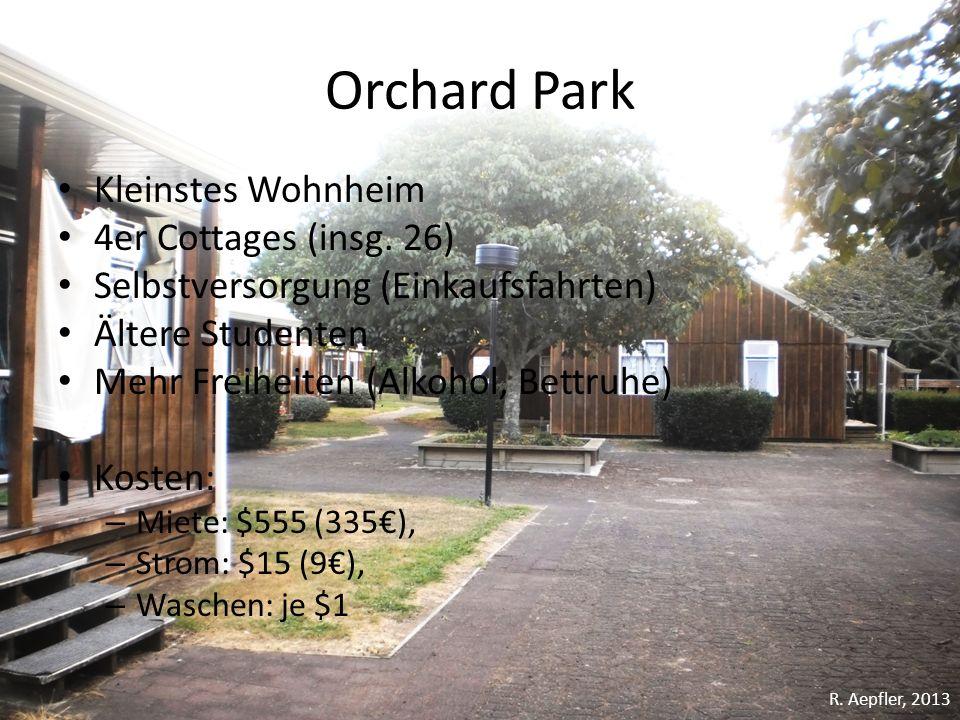 Orchard Park Kleinstes Wohnheim 4er Cottages (insg. 26) Selbstversorgung (Einkaufsfahrten) Ältere Studenten Mehr Freiheiten (Alkohol, Bettruhe) Kosten